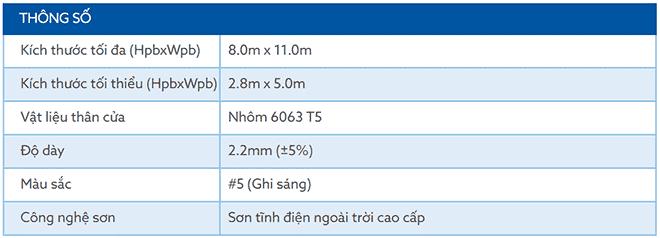 Thông số kĩ thuật của sản phẩm khe thoáng nhôm siêu trường BIGO B100